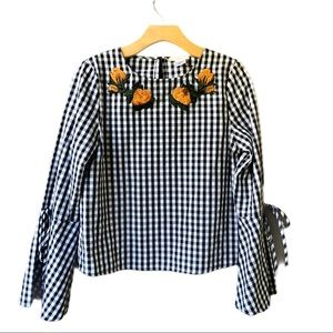 Gingham Floral Bell Sleeve Top